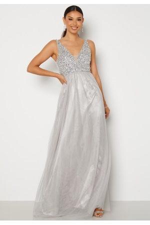 BUBBLEROOM Ivory embellished prom dress Light grey 34