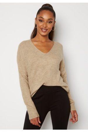 Jacqueline de Yong Elanora L/S V-Neck Knit Oatmeal S