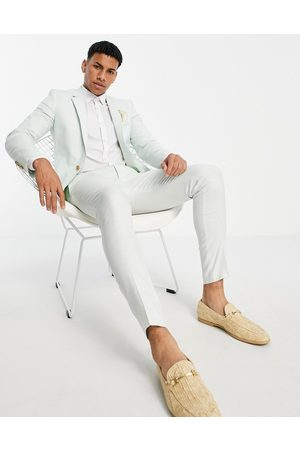 ASOS DESIGN Herre Chinos - Wedding super skinny suit trousers in pastel green cotton linen