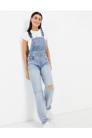 ASOS Organic cotton blend denim '90's' straight leg dungarees in midwash with rips-Purple