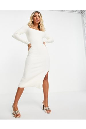 ASOS Ribbed midi dress with square neck in cream-White