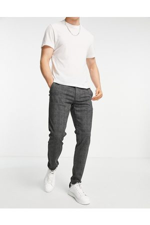 Only & Sons Herre Joggebukser - Slim fit jersey trousers in dark grey check