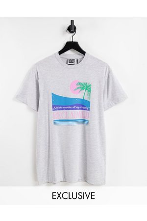 Reclaimed Inspired t-shirt with palm print in grey marl