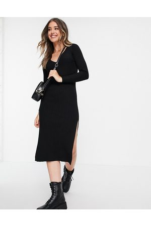 ASOS Knitted dress with v neck in rib in black