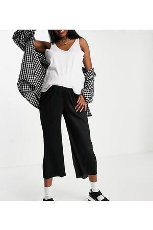ASOS Dame Leggings - ASOS DESIGN Maternity under the bump plisse culotte trousers in black