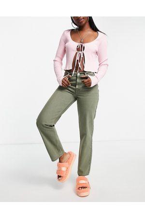 ASOS Dame Straight - Low rise straight leg jean in khaki-Green