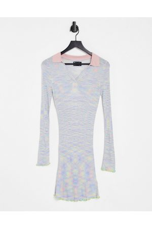 ASOS Dame Hverdagskjoler - Knitted dress with collar in space dye yarn-Multi