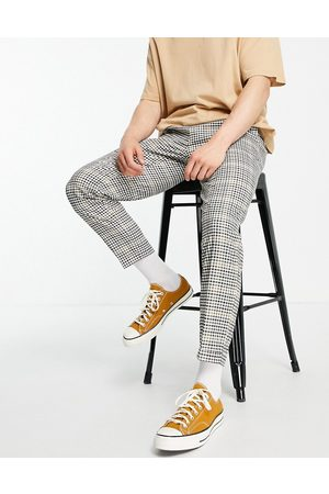 Burton Herre Chinos - Burton tapered fit mini check cropped trousers in mid green