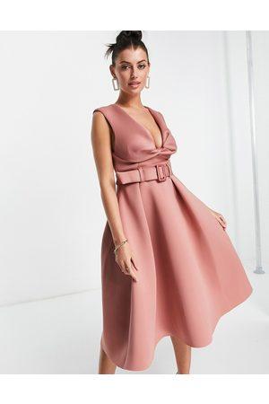 ASOS Twist square neck belted prom skater midi dress in rose-Pink