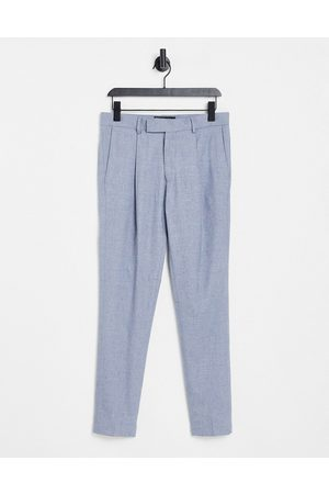 ASOS Herre Smale bukser - Smart cotton skinny trousers co-ord in blue