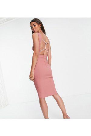 Vesper Square neck bodycon midi dress in dusty pink