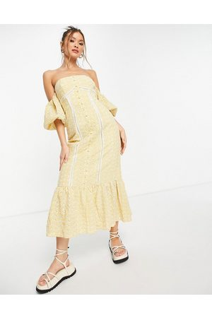 ASOS Off shoulder button through midi dress in yellow gingham broderie-Multi