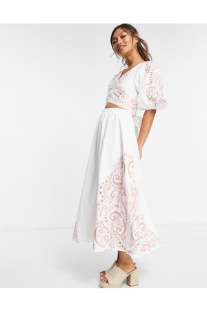 ASOS Cotton puff sleeve knot front maxi with tonal embroidery in white
