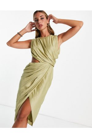 ASOS Dame Midikjoler - Drape detail voile midi dress with pleat detail and cut out detail-Green