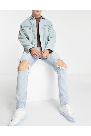 ASOS Herre Skinny - Slim jeans in light wash with extreme knee rips-Blue