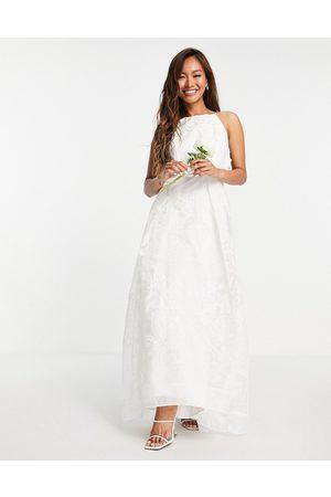 ASOS Lavinia halter 3D floral embroidered organza wedding dress-White