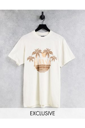 Reclaimed Inspired relaxed t-shirt with havana print in ecru-Neutral