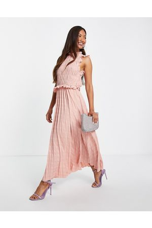 ASOS Shirred sleeveless pleated midi dress with open back in soft pink