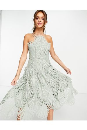 ASOS Dame Midikjoler - Cut work lace pinny midi dress-Blue