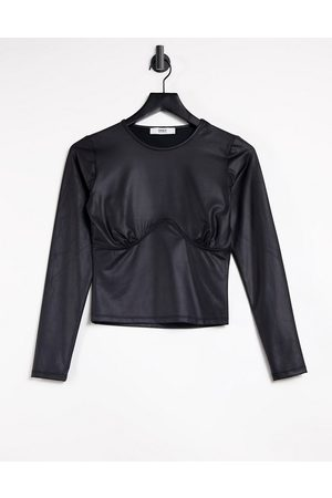 ONLY Leather look top with seam detail in black