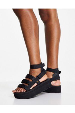 Teva Flatform mevia gladiator chunky sandals in black