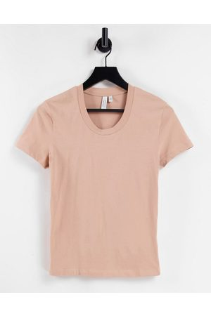 & OTHER STORIES Organic cotton fitted t-shirt in dusty pink