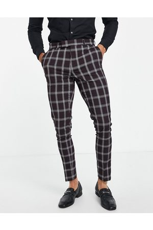 ASOS Skinny suit trousers with window check in burgundy-Red