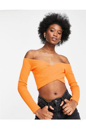 Miss Selfridge Long sleeve ribbed wrap front top in orange