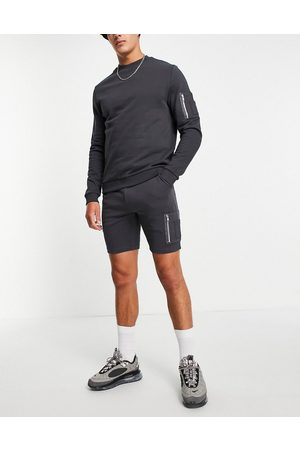ASOS Herre Shorts - Tracksuit with sweatshirt & skinny shorts with MA1 pocket in black