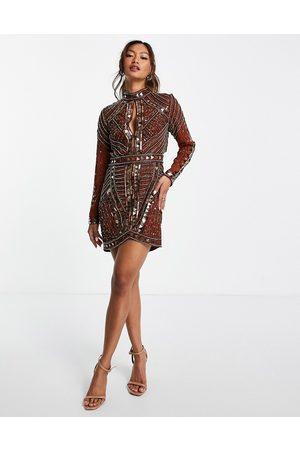 ASOS Dame Selskapskjoler - High neck embellished mini dress with open back and keyhole-Brown