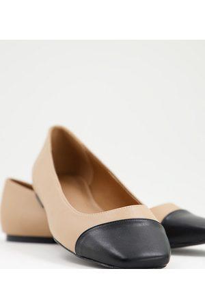 ASOS Dame Ballerinasko - Wide Fit Locket square toe ballet flats in and black-Neutral