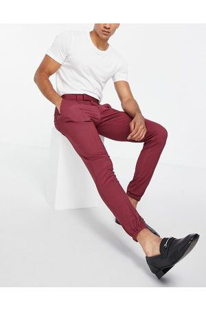 ASOS Skinny soft tailored smart trouser in burgundy jersey with cuff