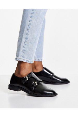 ASOS Milestone monk flat shoes in black