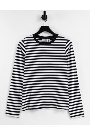 Weekday Alanis organic cotton long sleeve stripe t-shirt in black and white-Multi