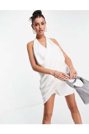 ASOS Halter satin ruched scoop mini dress in ivory-White