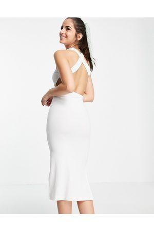 Miss Selfridge Backless racer rib midi dress in ivory-White