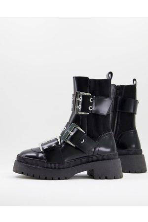 ASOS Dame Skoletter - Angela premium leather biker boots in black