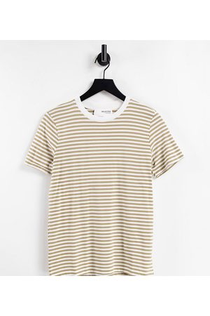 SELECTED Femme Exclusive cotton t-shirt in stripe-Multi