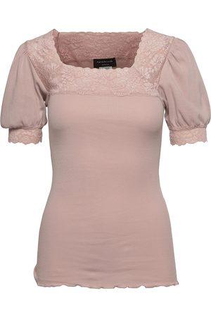 Rosemunde Dame Kortermede - Organic T-Shirt Ss W/Lace T-shirts & Tops Short-sleeved