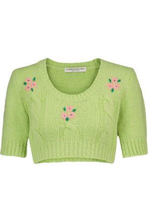Alessandra Rich Dame Strikkegensere - Alpaca and wool-blend cropped sweater