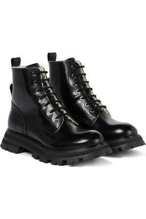 Alexander McQueen Wander shearling-trimmed leather combat boots