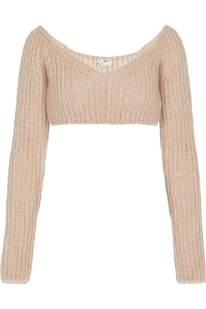 Fendi Mohair and silk-blend cropped sweater