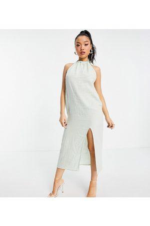 ASOS ASOS DESIGN petite halter midi beach dress in double gauze in sage green