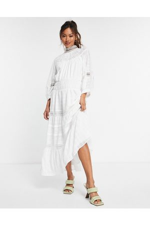 ASOS High neck midi dress with lace inserts in grid texture in white