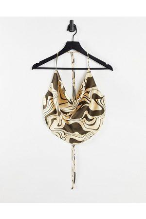 ASOS 90s satin scarf double tie halter in brown swirl print-Multi