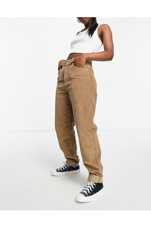 ASOS High rise 'slouchy' mom jeans in biscuit cord-Brown