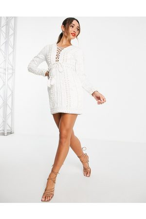 ASOS Structured mini shift dress with PU lattice trim and stud detail-White