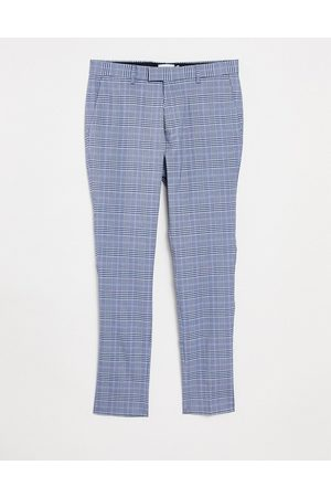 Topman Skinny checked trousers in light blue and navy