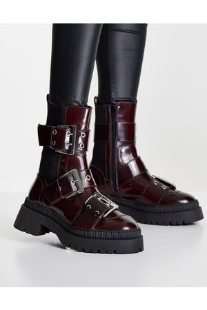 ASOS Angela premium leather biker boots in burgundy-Red