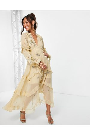 ASOS A-line midi dress with cluster embellishment in gold